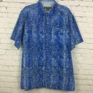 ExOfficio Shirt Size XL Blue Button Up Outdoor